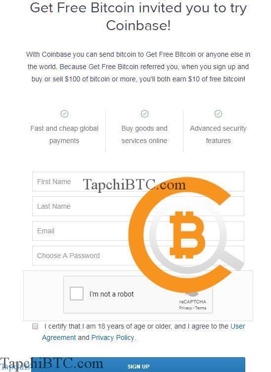 Hướng dẫn đăng ký tài khoản Coinbase